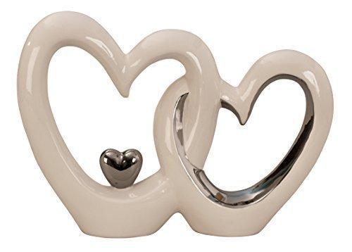 Moderne Herz Skulptur Deko Objekt aus Keramik weiß/silber Höhe 23 cm Breite 33 cm