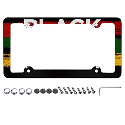 Black History Month Black Flag White License Plate Frame Plate Frame Aluminum License Plate Frames