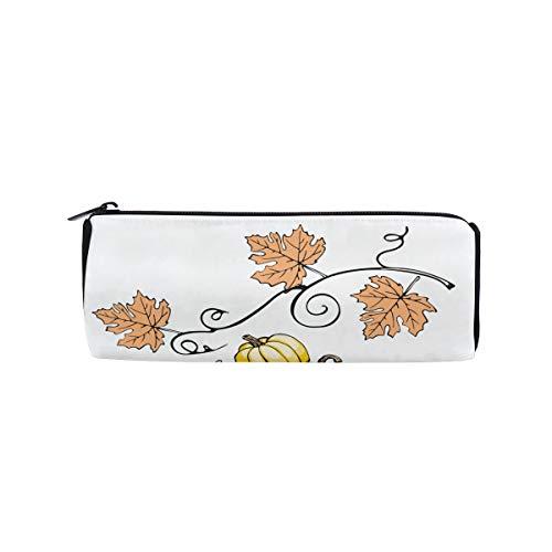 Hand-Painted Pumpkin Painting Students Super Large Capacity Barrel Pencil Case Pen Bag Cotton Pouch Holder Makeup Cosmetic Bag for Kids -
