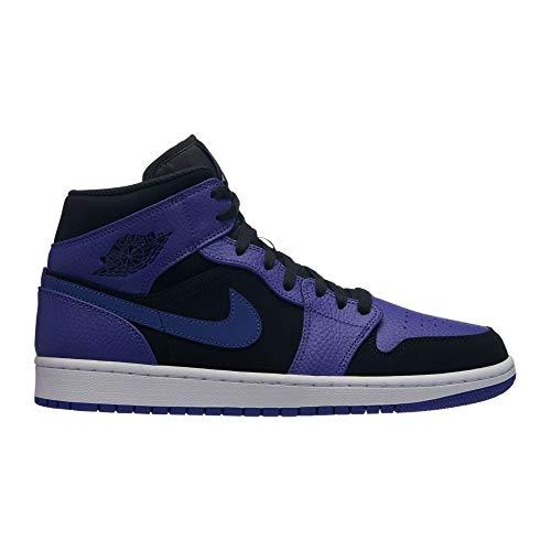 Jordan Air 1 Mid Basketball Shoes (M11.5/ W13, Black/Dark Concord/White)