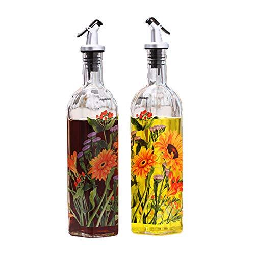 Glass Leak-proof Oil Kettle Soy Sauce Vinegar Bottle Creative Kitchen Seasoning Bottle Two Sets Non-drip Spout Non-slip Olive Oil Dispenser Oil Container with Cartoon Graphics chrysanthemum