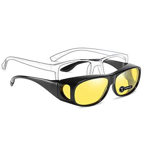 TERAISE Wear Over Glasses Sunglasses/Night Vision Glasses - Fit Over Prescription Glasses Polarized Driver Sunglasses with 100% Anti-Glare Hd Lens for Men Or Women (Anti Glare Prescription Glasses For Night Driving)