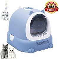 Cat Litter Box Cat Toilet Tray with Toilet Pan Box Drawer and Cat Shovel, Pet Toilet Box Transparent Flap Fully Enclosed…
