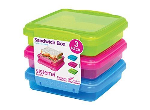 Sistema Sandwichbox, 3er-Pack, 1 x limettengrün, 1 x aqua, 1 x pink