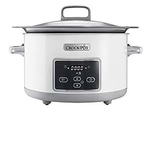 Crock-Pot Duraceramic Csc026X - Olla de cocción lenta de 5 L, color blanco