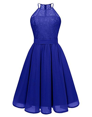 BeryLove Women's Short Floral Lace Bridesmaid Dress Halter Swing Chiffon Party Dress BLP7007RoyalBlue2XL