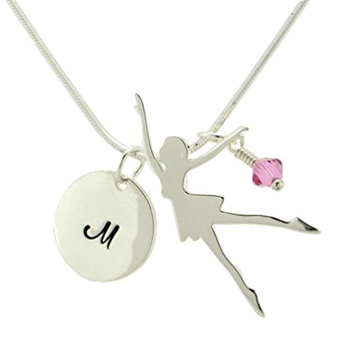 5 Sterling Silver Personalized Ballet Dancer Music Custom Hand Stamped Initial Letter Round Tag Crystal Birthstone Charm Snake Chain Necklace Unique Beautiful Gift Jewelry (18) (Sterling Silver Round Tag Pendant)