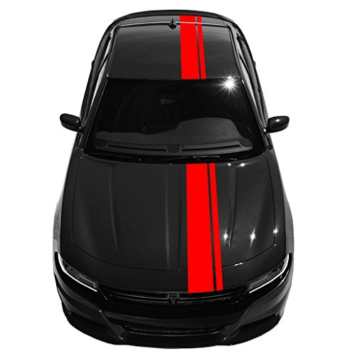 2 and 8 Inch Double Offset Vinyl Racing Stripes, Fits Dodge Charger, Red