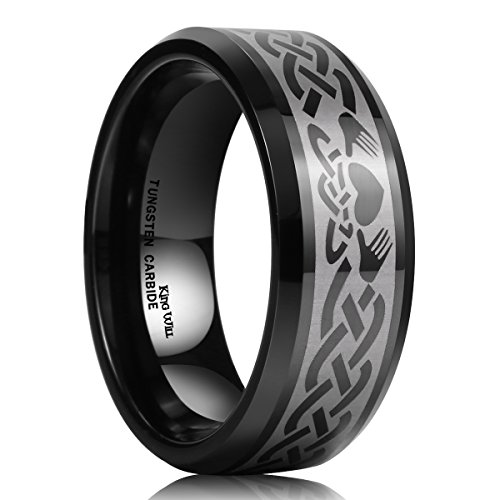 King Will Classic Men's 8mm Black Tungsten Carbide Ring Laser Irish Claddagh Engagement Polish Wedding Band -
