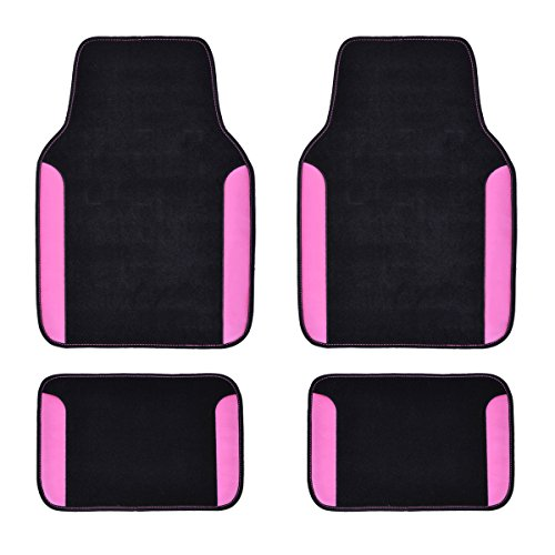 CAR PASS NEW ARRIVAL RAINBOW WATERPROOF UNIVERSAL CAR FLOOR MATS (Black With Rose Red)