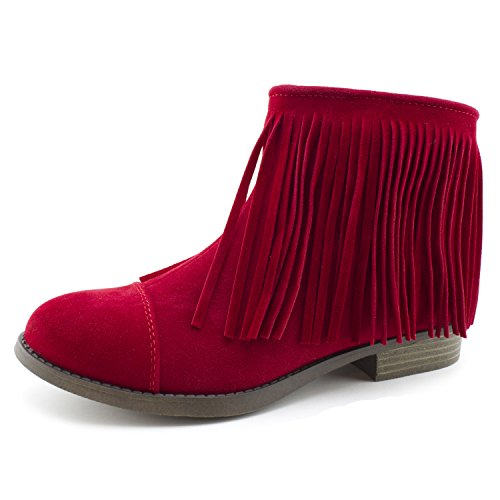Kali Women's Western Side Zipper Fringe Faux Suede Ankle Booties, Womens, Red, 11 M US Women
