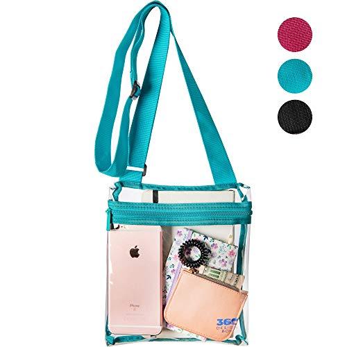 360 DESIGN BOX Clear Cross-Body Messenger Shoulder Bag, PGA, NCAA & NFL Stadium Approved Transparent Purse, See Through Security Handbag (Green) (Heavy Vinyl Duty Ncaa)