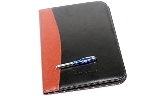 Rizwan Two Tone Professional Business Padfolio Organizer With Removable Notebook And Led Pen  Black   Brown
