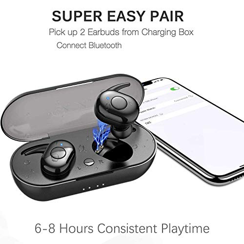 Wireless Earbusds Bluetooth 5.0 Bluetooth Headphones 6-8 Hours Playtime IPX5 Waterproof TWS Stereo Headphones in-Ear Built-in Mic Headset Premium Sound with Deep Bass for Sport