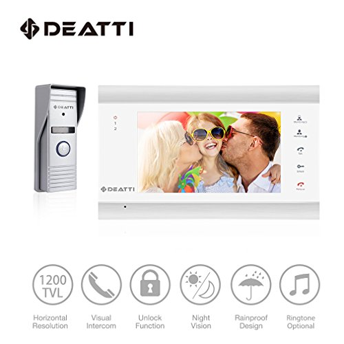 DEATTI Wireless/Wired Wifi IP Video Door Phone Home Security Intercom Entry System with 1 x 7 Inch Color LCD Monitor, 1 x 1200TVL Video Doorbell Camera Night - Video Intercom Color Doorbell