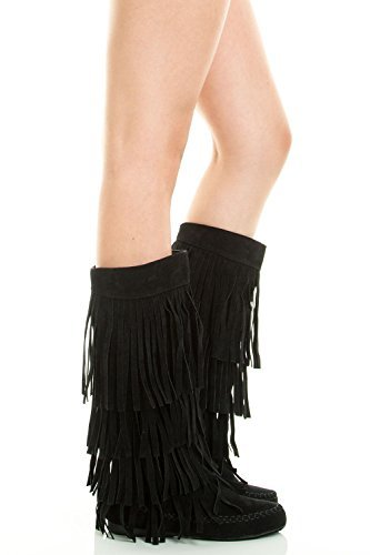 Refresh Jolin-02 Women's Fringe Moccasin Flat Heel Zipper Under Knee High Boots,Black,9 by Refresh