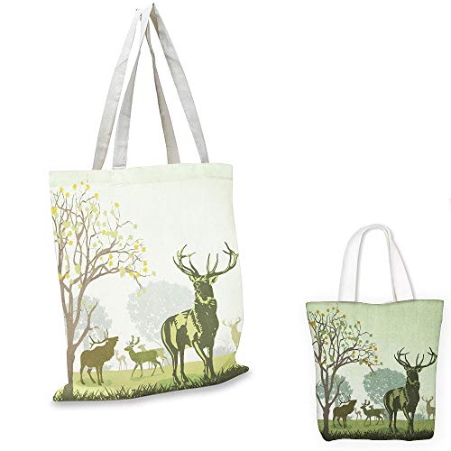 shopping bag storage pouch Antlers Deer and Wildlife in Park World Natural Heritage Forest Areas Reindeer Nature Scene Green tote bag with zipper - Natural Miniature Woven Beach Bags