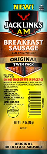 Low Fat Sausage - Link Snacks Jack Link's A.M. Breakfast Sausage, Original, 1.4 Ounce (Pack of 10)