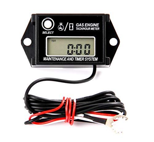 Jayron JR-HM026A Digital Hour Meter Tachometer, Maintenance Reminder, Maximum RPM Recall, or Pneumatic Equipment and ZTR Lawn Mower Tractor Generator Outboard ATV Jetski Motorcycle Snowmobile