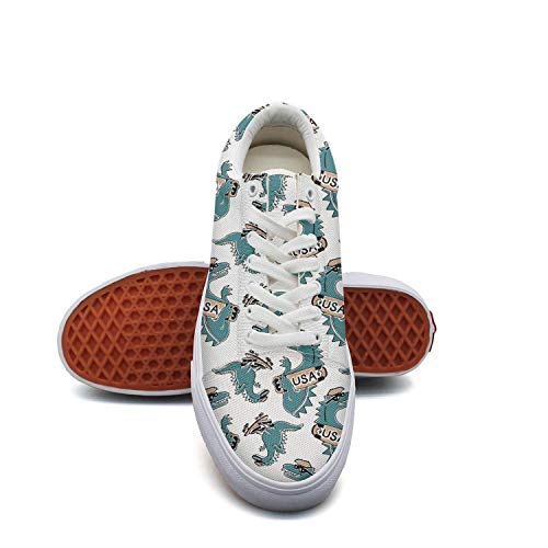Ladydinosaur New York Van-osaur USA Blue Canvas Shoes Low-Cut Straps Classic Sneakers Suitable for Walking (Barneys New York Check)