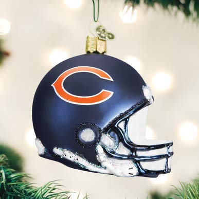 OW Chicago Bears Helmet Blown Glass Ornament 3.25