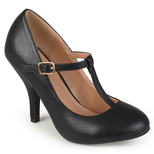 Journee Collection Womens T-Strap Matte Finish Pumps Black, 7 Regular US