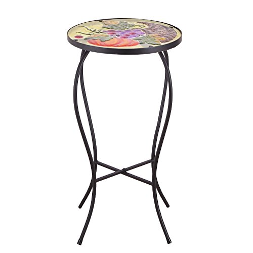 Mosaic Green Dining Table (Homebeez Pumpkin Grapes Mosaic Round Plant Stand Accent Side Table, Height 22 Inches, Black Color)