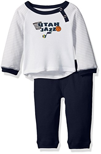 Outerstuff NBA Newborn Scrimage 2 Piece Tee and Pant Set Utah Jazz-White-0-3 (Utah Jazz Two Piece)