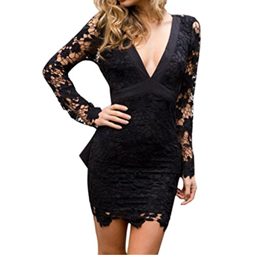 Elevin(TM) Womens Deep V Neck Backless Lace Bodycon Cocktail Ladies Party Mini Dress (Black, XL) -
