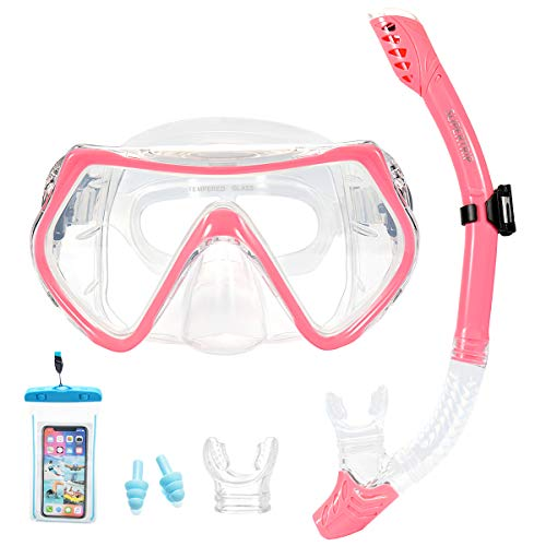 Supertrip Snorkel Set Adults-Scuba Snorkeling Diving Mask with Impact Resistant Anti-Fog Temperred Glass|Dry Top Snorkel,2 Mouthpieces 1 Waterproof Case Included Pink