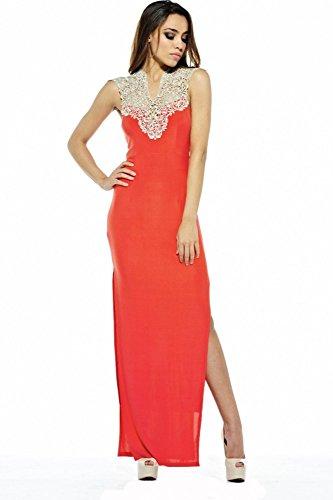 Maxi-Kleid mit Gehschlitz und Häkeldetail Rot
