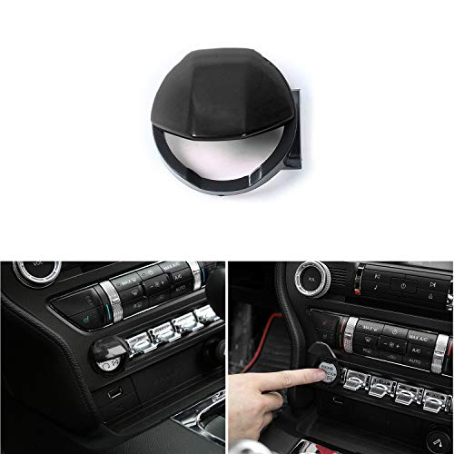 Voodonala Black Engine Start/Stop Button Center Console Dashboard Switch Cover Trim for Ford Mustang 2015 2016 ()