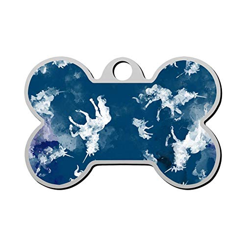 Qeksow Customizable Cat Dog ID Tags, Funny Blue Ink Clouds Unicorn Personalized Double Sided Printed Pet Information Collar