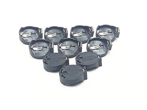 3V CR2032/ CR2025 Cell Battery Adapter Black Silver Tone 10Pcs