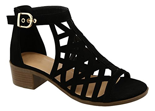 Faux Leather Strappy Heel Sandal (New Best SELLER Black Gladiator Faux Leather Strappy Sandal Open Toe Caged Chunky Low Block Heel Slip On Zapatos de Mujer Stylish Light Comfy Dressy Casual Shoe For Women Teen Girl (Size 8.5, Black))