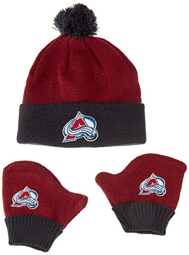 OTS NHL Colorado Avalanche Pow Knit Cap & Mittens Set, Cardinal, Infant