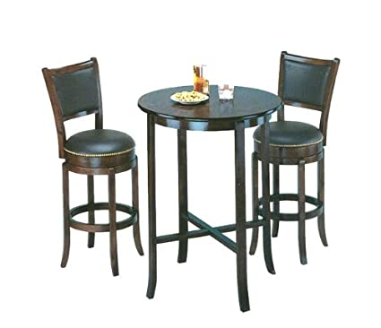 York black Pub Table Set with 2 Leather Chairback Swivel Bar Stools  sc 1 st  Amazon.com & Amazon.com: York black Pub Table Set with 2 Leather Chairback Swivel ...