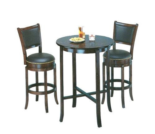 York black Pub Table Set with 2 Leather Chairback Swivel Bar Stools