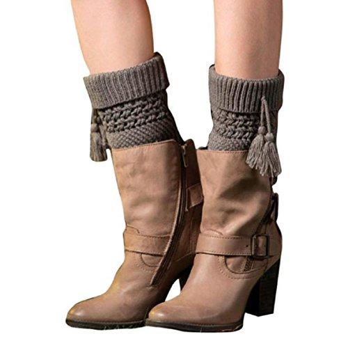 WOCACHI Damen Stulpen Winter Frauen Quaste kurzer Punkt Beinlinge Socken Stiefel Abdeckung Leg Warmers Socks Boot Cover (Grau)