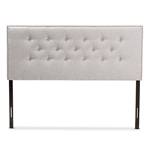 Windsor Modern and Contemporary Greyish Beige Fabric Upholstered Queen Size Headboard ()