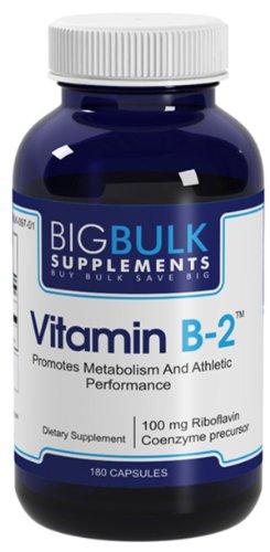 La vitamine B-2 favorise la réparation des tissus et la fonction thyroïdienne saine vrac Big suplements Riboflavine Vitamine B2 100mg 180 Capsules 1 Bouteille