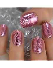 Underbara Shimmer Rose Gold Fake Nails Short Round UV False Press on Nails for Girl Full Cover Easy Wear Finger Nail Art Tips