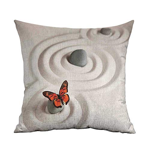 Butterflies Microfiber Zen Rock on The Sand Butterfly Serenity Life Cycle Nature Meditation Decor Sofa Cushion Cover Bedroom car Decoration W18 x L18 Inch Beige Orange ()