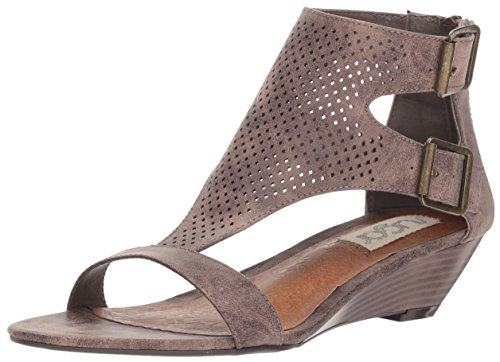 Sugar Womens' Wigout Demi Wedge T-Bar Open Toe Buckle Sandal, Taupe Perf, 8 Medium US