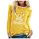 Acilnxm Womens Christmas Graphic Letter Print Blouses Long Sleeve Tops Tunics T-Shirts Yellow