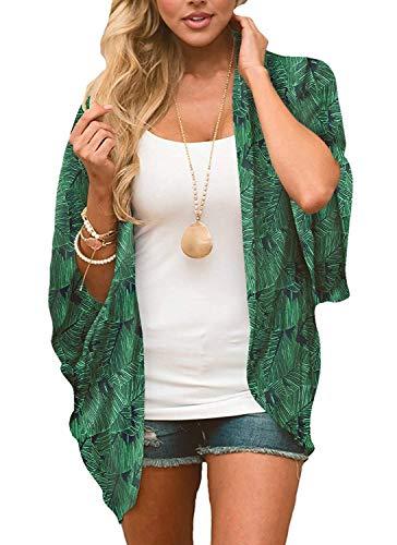 Women's Sheer Chiffon Blouse Loose Tops Kimono Floral Print Cardigan Green Leaves M