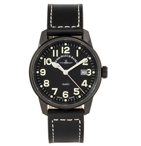 Zeno Classic Pilot Black Dial Leather Strap Men's Watch 3315Q-BK-A1