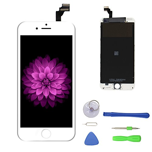 iPhone 6 Plus Screen Replacement White, LCD Display & Touch Screen Digitizer Frame Cell Assembly Set with Free Repair Tools for iPhone 6 Plus 5.5