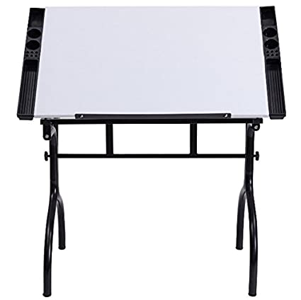 Folding Portable Drafting Drawing Desk 4 Removable Trays Adjustable  Tabletop Painting Writing Reading Study Table Foldable