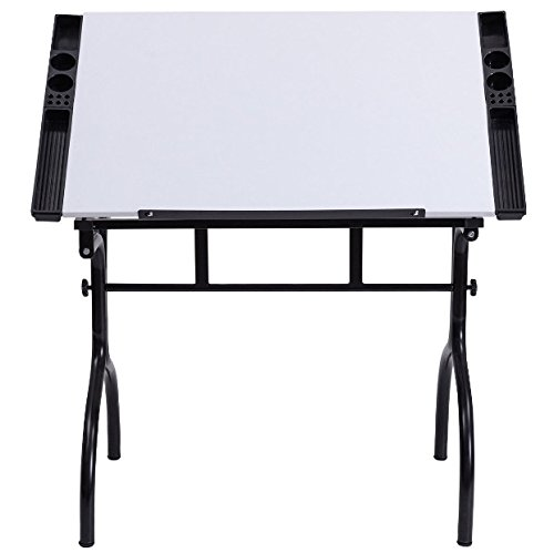 Folding Portable Drafting Drawing Desk 4 Removable Trays Adjustable Tabletop Painting Writing Reading Study Table Foldable Design Art Craft Hobby Studio Architect Office Home Work Steel Construction by HPW
